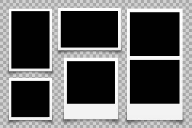 set empty photo frame - stock vector - space background stock illustrations