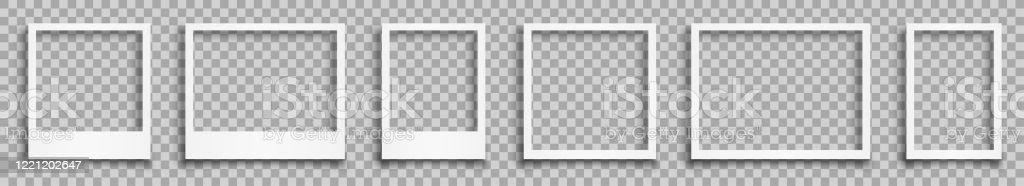 Stellen Sie leeren weißen Fotorahmen mit Schatten - Stock-Vektor - Lizenzfrei Alt Vektorgrafik