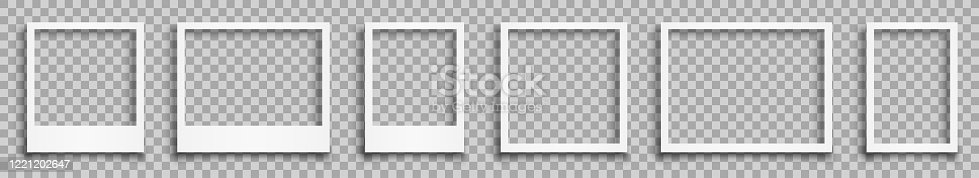 istock Set empty white photo frame with shadows - stock vector 1221202647
