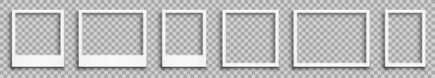 установите пустую белую фоторамку с тенями - сток вектор - white background stock illustrations