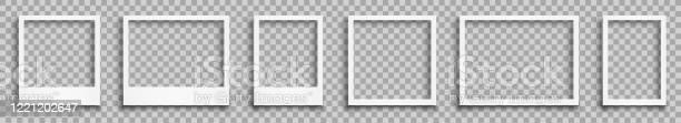 Stellen Sie Leeren Weißen Fotorahmen Mit Schatten Stockvektor Stock Vektor Art und mehr Bilder von Alt