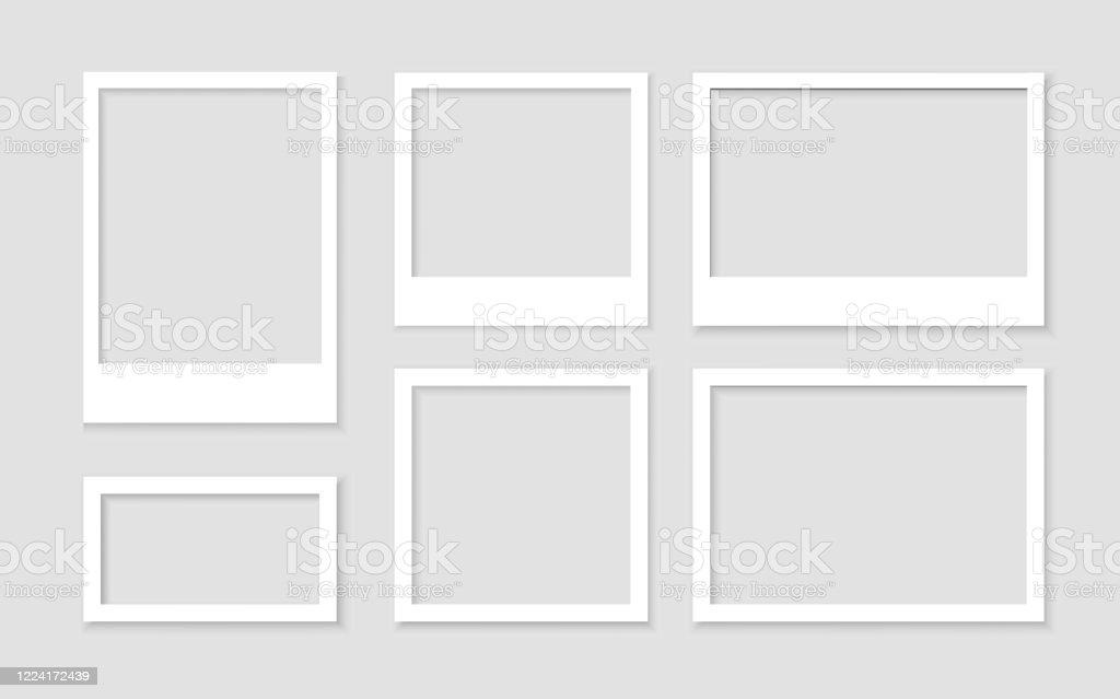 Legen Sie einen leeren weißen Fotorahmen mit Schatten-Stock-Vektor fest. Bild Vintage und realistisch. Vorlagendesign-Galerie leer - Lizenzfrei Abstrakt Vektorgrafik