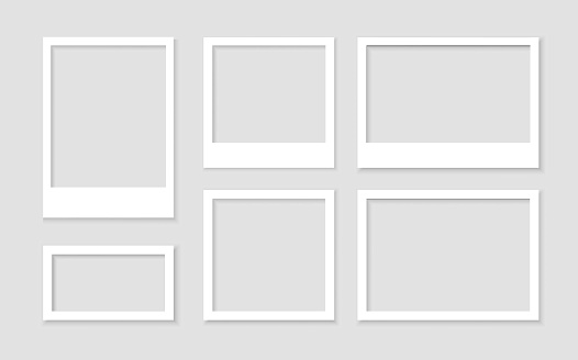 Set empty white photo frame with shadows stock vector.Picture vintage and realistic.Template design gallery blank