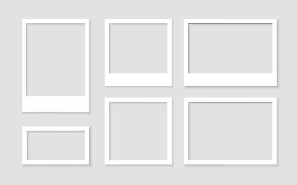 使用陰影庫存向量設置空白色相框。圖片復古和現實。樣本設計庫空白 - 有邊框的 幅插畫檔、美工圖案、卡通及圖標