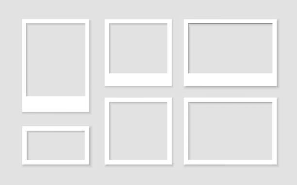 legen sie einen leeren weißen fotorahmen mit schatten-stock-vektor fest. bild vintage und realistisch. vorlagendesign-galerie leer - polaroid stock-grafiken, -clipart, -cartoons und -symbole