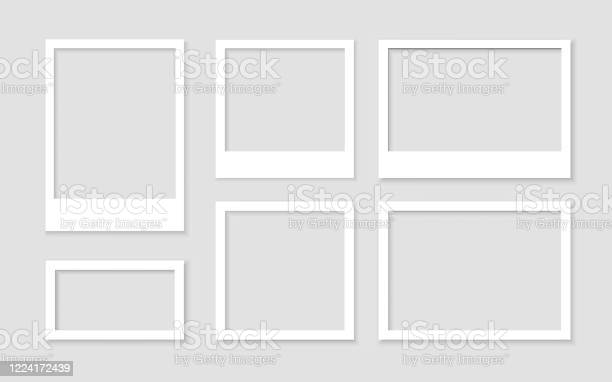 Legen Sie Einen Leeren Weißen Fotorahmen Mit Schattenstockvektor Fest Bild Vintage Und Realistisch Vorlagendesigngalerie Leer Stock Vektor Art und mehr Bilder von Abstrakt