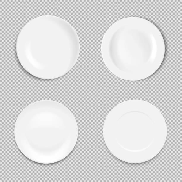 bildbanksillustrationer, clip art samt tecknat material och ikoner med ställ in tom vit platta isolerad på vit bakgrund. vektor illustration. - empty plate