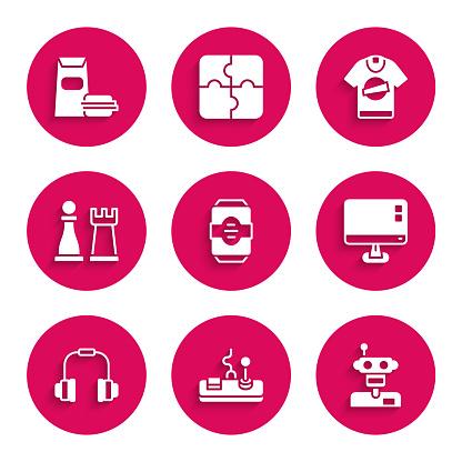 Set Energy drink, Gamepad, Robot, Computer monitor screen, Headphones, Chess, T-shirt and Burger icon. Vector