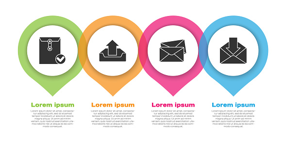 Set Envelope and check mark, Upload inbox, Envelope and Envelope. Business infographic template. Vector