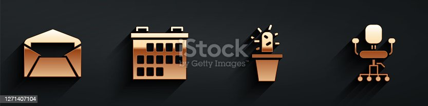 Set Envelope, Calendar, Cactus and succulent in pot and Office chair icon with long shadow. Vector