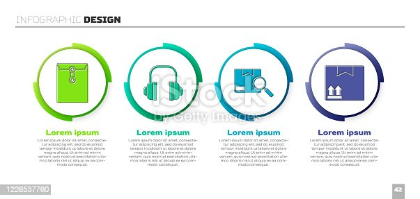 istock Set Envelope, Headphones, Search package and Cardboard box with traffic symbol. Business infographic template. Vector 1226537760