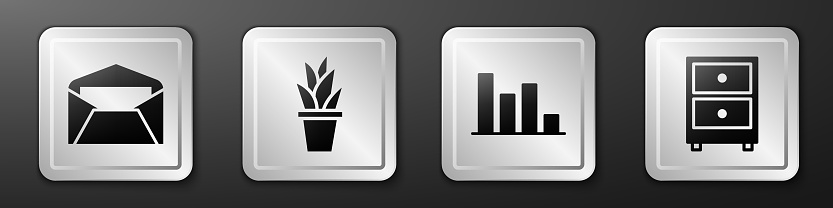 Set Envelope, Plant in pot, Pie chart infographic and Drawer with documents icon. Silver square button. Vector