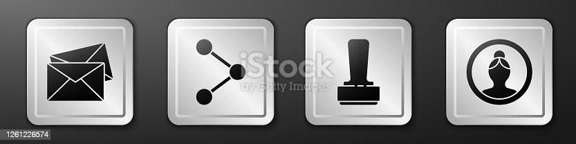 istock Set Envelope, Share, Stamp and Create account screen icon. Silver square button. Vector 1261226574