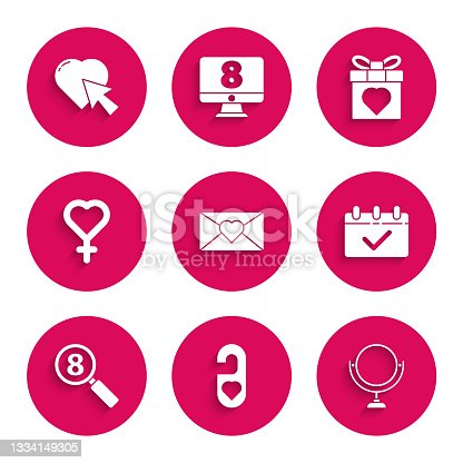 istock Set Envelope with 8 March, Please do not disturb heart, Round makeup mirror, Calendar, Search, Female gender symbol, Gift box and and Heart cursor click icon. Vector 1334149305