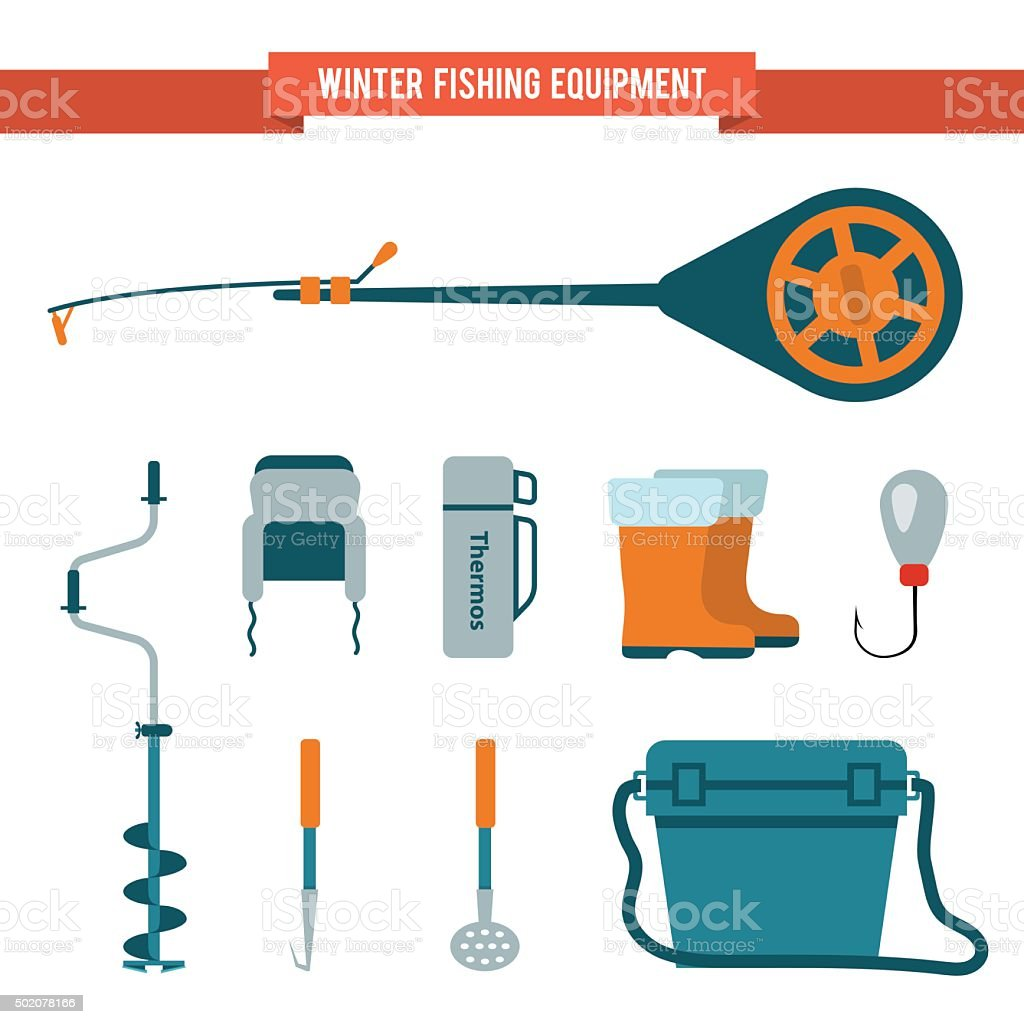 Set equipment flat style for winter fishing on ice vector art illustration