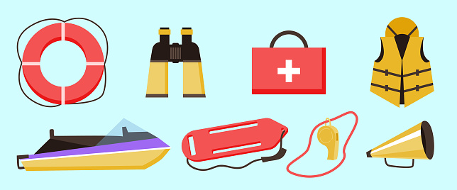 Set equipment of lifeguard for rescue and medical first aid of drowning.