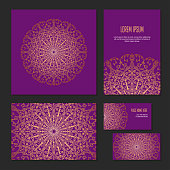 Set ethnic symmetric abstract circle pattern of corporate identity template for flower shop, workshop or salon. Gold on dark background, vector banners. Cover brochure, booklet and business card