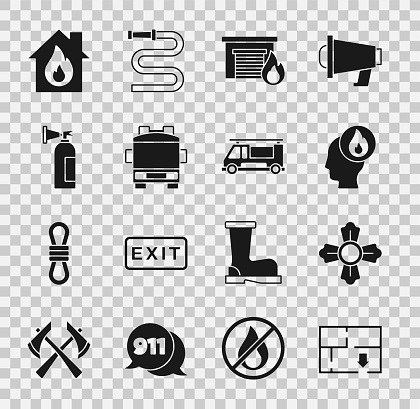 Set Evacuation plan, Firefighter, in burning garage, truck, extinguisher, house and icon. Vector
