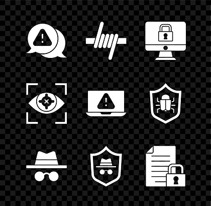 Set Exclamation mark in triangle, Barbed wire, Lock monitor, Incognito mode, Document and lock, Eye scan and Laptop with exclamation icon. Vector