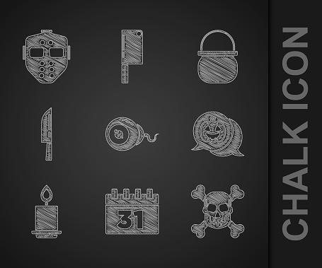 Set Eye, Calendar with Halloween, Skull on crossbones, Pumpkin, Burning candle, Knife, witch cauldron and Hockey mask icon. Vector