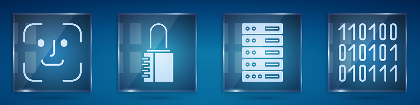Set Face recognition, Safe combination lock, Server, Data, Web Hosting and Binary code. Square glass panels. Vector