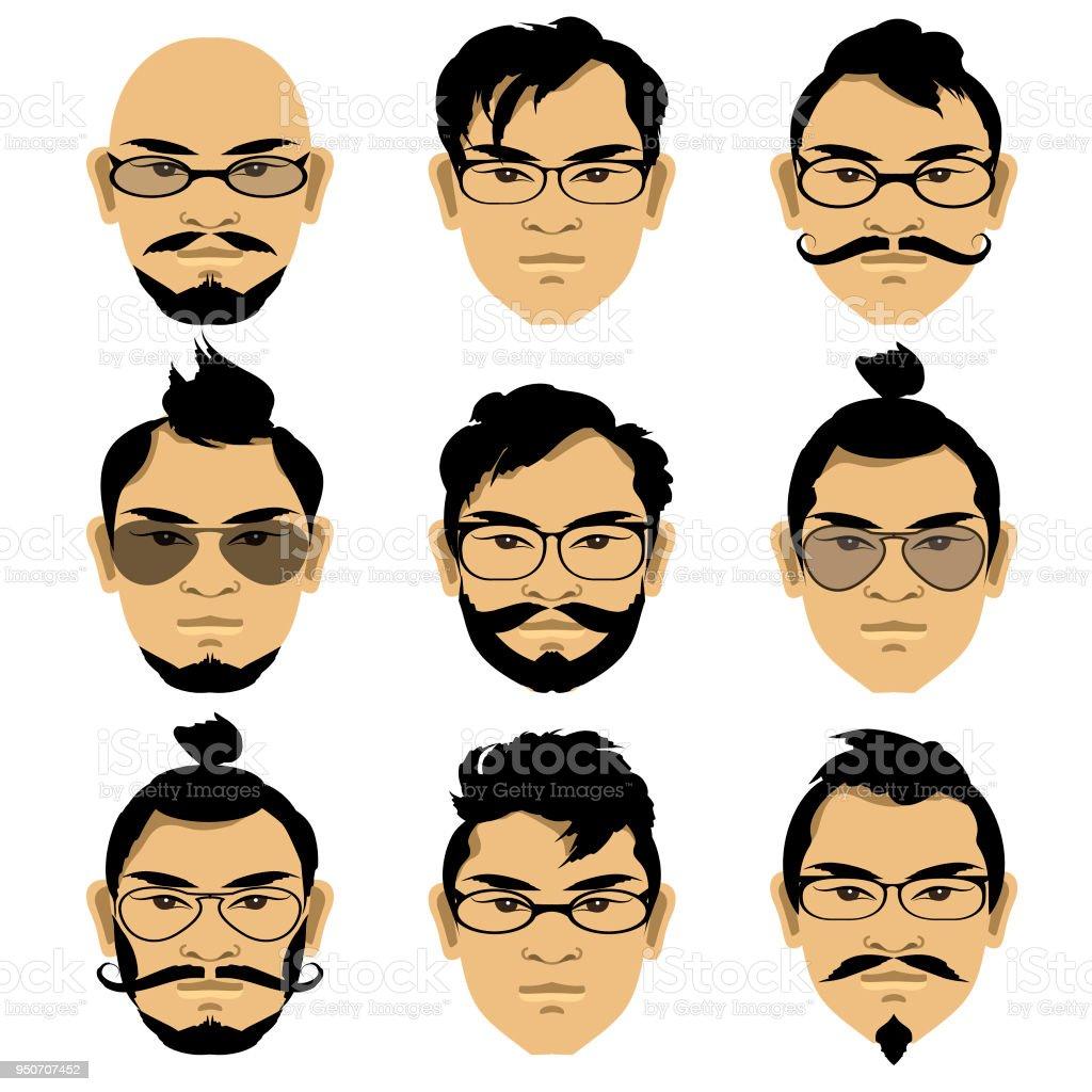 Gesichter Der Asiatischen Manner Mit Verschiedenen Frisuren