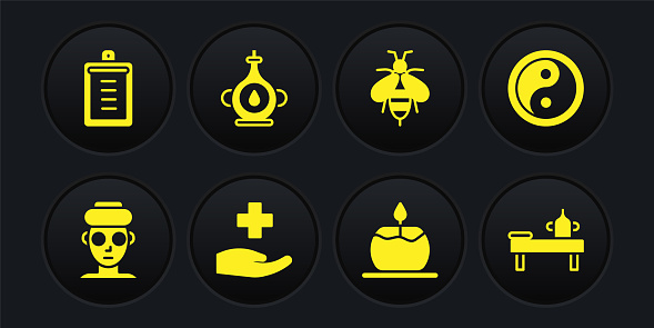 Set Facial cosmetic mask, Yin Yang, Cross hospital medical, Aroma candle, Bee, Oil bottle, Massage table with oil and Clipboard checklist icon. Vector