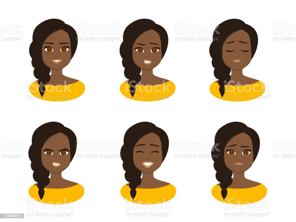 Set facial expressions of Young african  business woman wearing yellow costume. vector art illustration