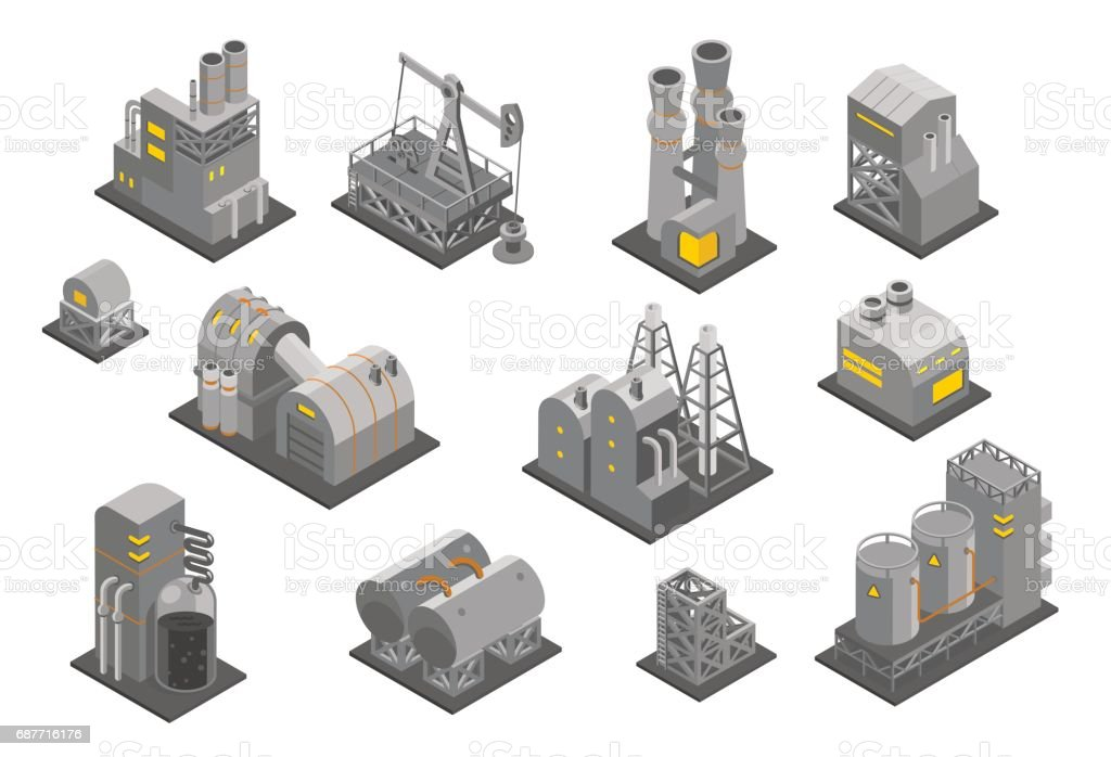 Set factories plant Isometry vector illustration. Oil Industrial production factory vector art illustration