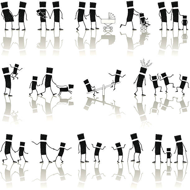 set: families - old man stick figure silhouette stock illustrations, clip art, cartoons, & icons