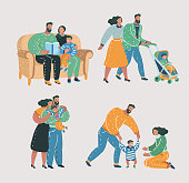 Vector cartoon illustration of Set scenes of family life. Mother, father and son. Reading book, walking with stroll, help make first step, give a hug.
