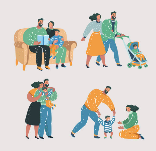 Set Family with kid. Vector cartoon illustration of Set scenes of family life. Mother, father and son. Reading book, walking with stroll, help make first step, give a hug. parenting stock illustrations