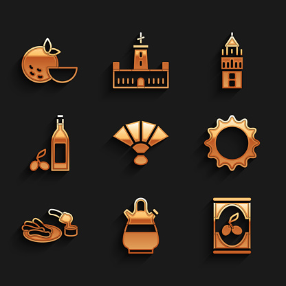 Set Fan flamenco, Sangria pitcher, Olives in can, Sun, Churros and chocolate, Bottle of olive oil, Giralda and Orange fruit icon. Vector
