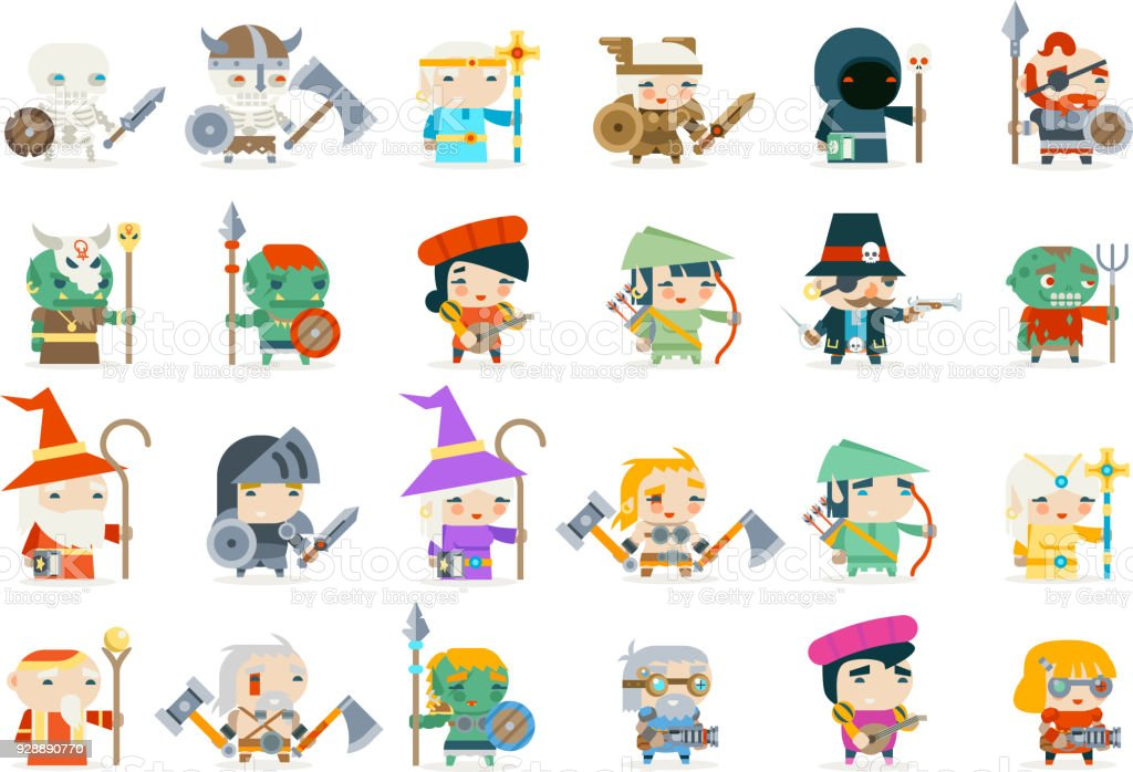 Set fantasy rpg game heroes villains minions character vector icons flat design vector illustration vector art illustration