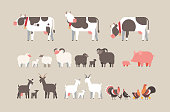 set farm animal cow goat pig turkey sheep chicken icons different domestic animals collection farming concept flat horizontal vector illustration