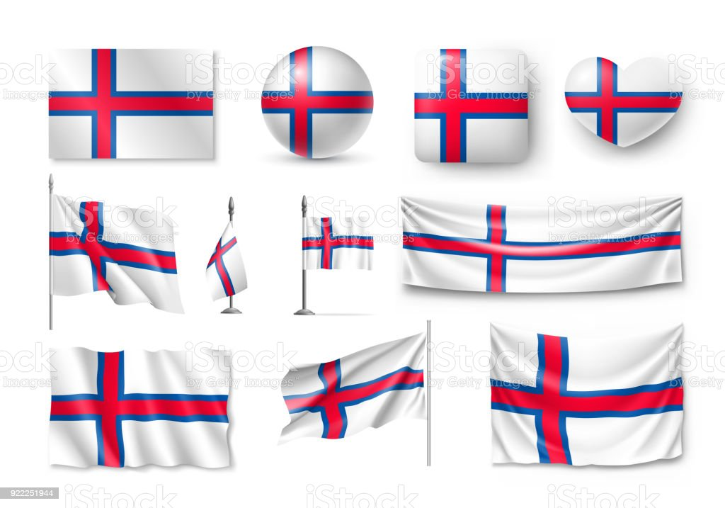Set Faroe Island flags, banners, banners, symbols, flat icon vector art illustration