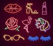 Set fashion neon sign