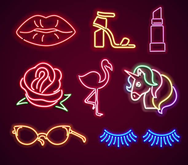 set fashion neon sign - shoes fashion stock illustrations, clip art, cartoons, & icons