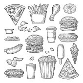 Set fast food. Cup cola, coffee, hamburger, pizza, hotdog, fry potato, carton bucket popcorn, ketchup, donut, ice cream, popsicle, chips. Vector vintage black engraving illustration isolated on white