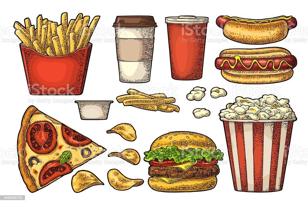 e8976535b67f Set Fast Food Coffee Hamburger Pizza Hotdog Fry Potato Popcorn Stock ...