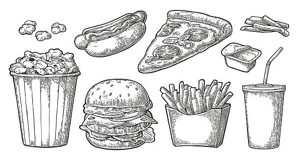 set fast food. cola, hamburger, pizza, hotdog, potato, popcorn ketchup - hamburger schnellgericht stock-grafiken, -clipart, -cartoons und -symbole