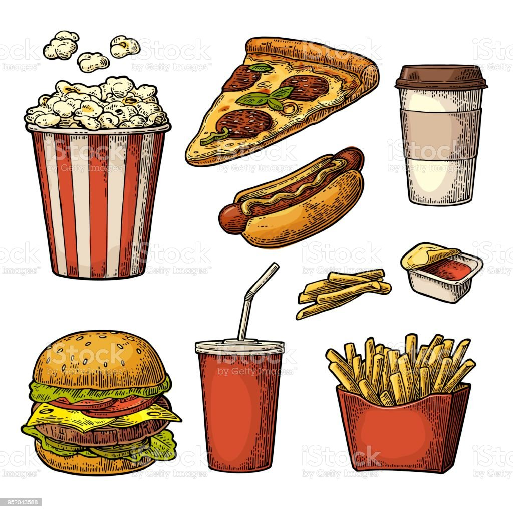 3e2cc98a3908 Set Fast Food Cup Cola Coffee Hamburger Pizza Hotdog Fry Potato In ...