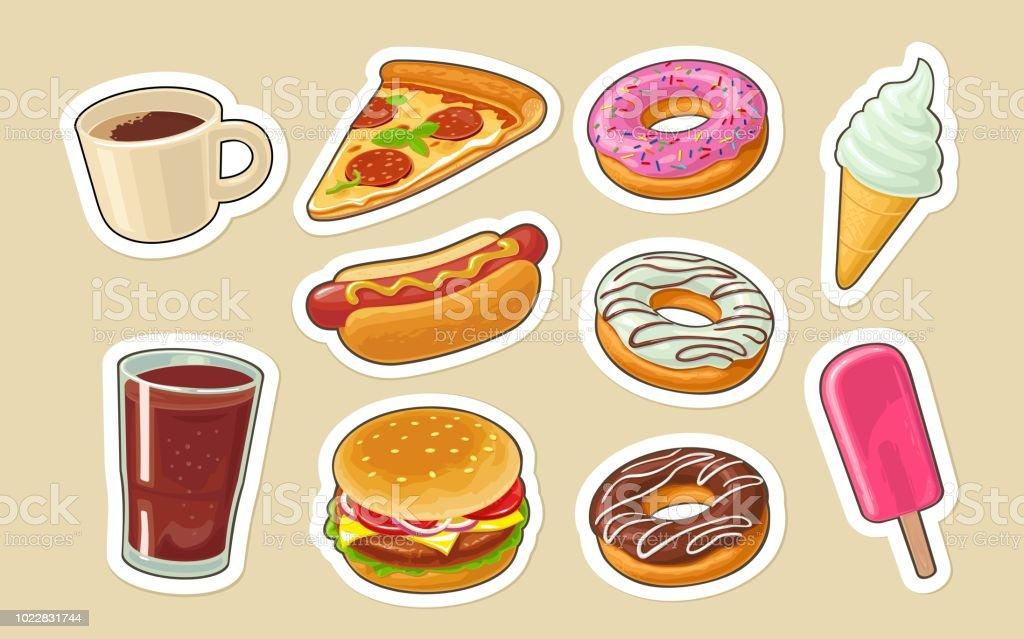 e1c26d9039fd Set Fast Food Donut Ice Cream Pizza Hamburger Pizza Hotdog Stock ...