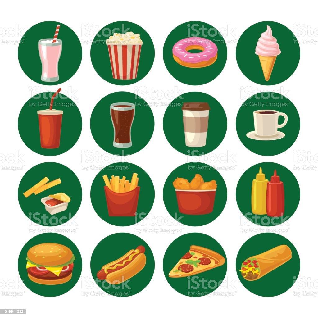 Set fast food icon. Cup cola, hamburger, pizza, burrito vector art illustration