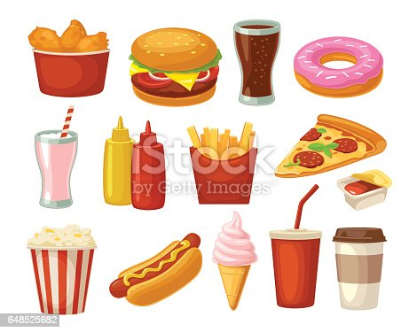 Set fast food icon. Cup cola, coffee, donut, ice cream, milkshake, hamburger, pizza, chicken legs, hotdog, fry potato, popcorn, ketchup. Isolated on white background. Vector flat color illustration