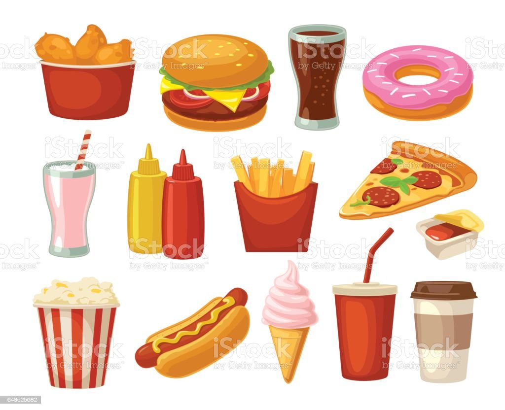 Icône Set Fast-Food. Coupe du cola, hamburger, pizza frite cuisses de poulet - Illustration vectorielle