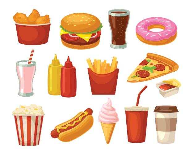 set fast food icon. cup cola, hamburger, pizza fried chicken legs - junk food stock illustrations, clip art, cartoons, & icons