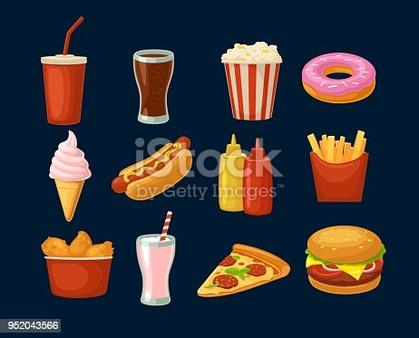 Set fast food icon. Cup cola, donut, ice cream, milkshake, hamburger, pizza, chicken legs, hotdog, fry potato, popcorn, ketchup. Isolated dark background. Vector flat color illustration. For takeaway