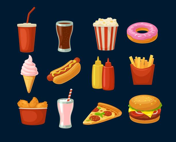 Set fast food icon. Cup cola, hamburger, pizza fried chicken legs Set fast food icon. Cup cola, donut, ice cream, milkshake, hamburger, pizza, chicken legs, hotdog, fry potato, popcorn, ketchup. Isolated dark background. Vector flat color illustration. For takeaway french fries stock illustrations