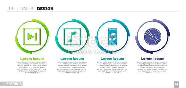 istock Set Fast forward, Music note, tone, Music player and Vinyl disk. Business infographic template. Vector 1267678826